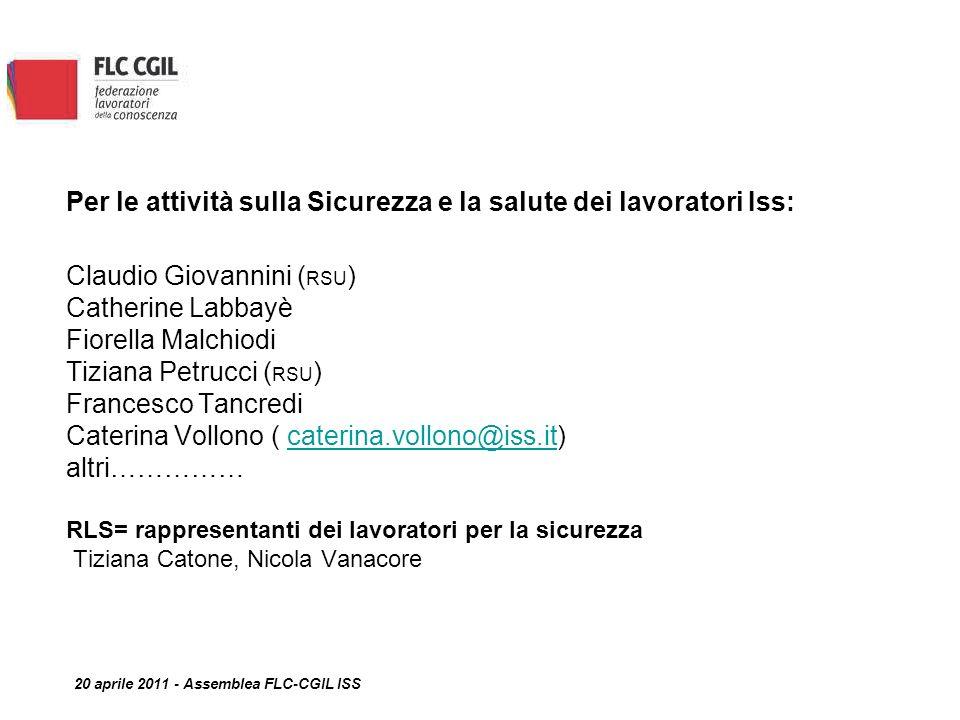 Per le attività sulla Sicurezza e la salute dei lavoratori Iss: Claudio Giovannini ( RSU ) Catherine Labbayè Fiorella Malchiodi Tiziana Petrucci ( RSU