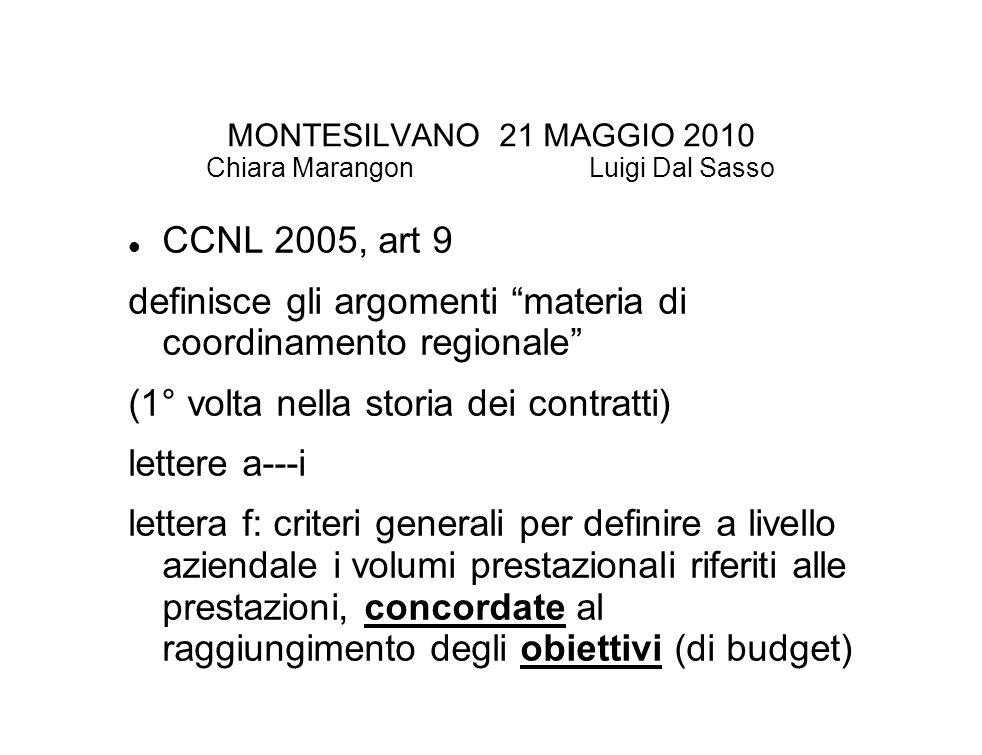 MONTESILVANO 21 MAGGIO 2010 Chiara Marangon Luigi Dal Sasso CCNL 2005, art 9 definisce gli argomenti materia di coordinamento regionale (1° volta nella storia dei contratti) lettere a---i lettera f: criteri generali per definire a livello aziendale i volumi prestazionali riferiti alle prestazioni, concordate al raggiungimento degli obiettivi (di budget)