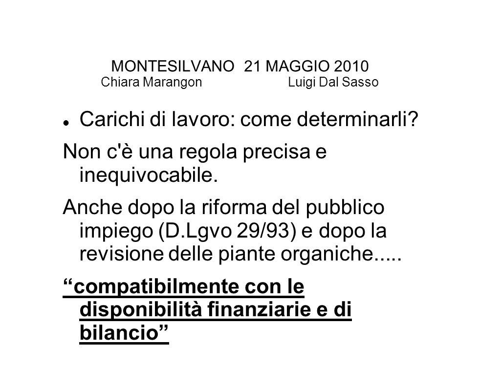 MONTESILVANO 21 MAGGIO 2010 Chiara Marangon Luigi Dal Sasso Carichi di lavoro: come determinarli.