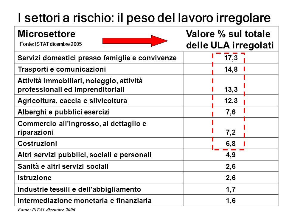 MicrosettoreValore % sul totale delle ULA irregolati Servizi domestici presso famiglie e convivenze17,3 Trasporti e comunicazioni14,8 Attività immobil