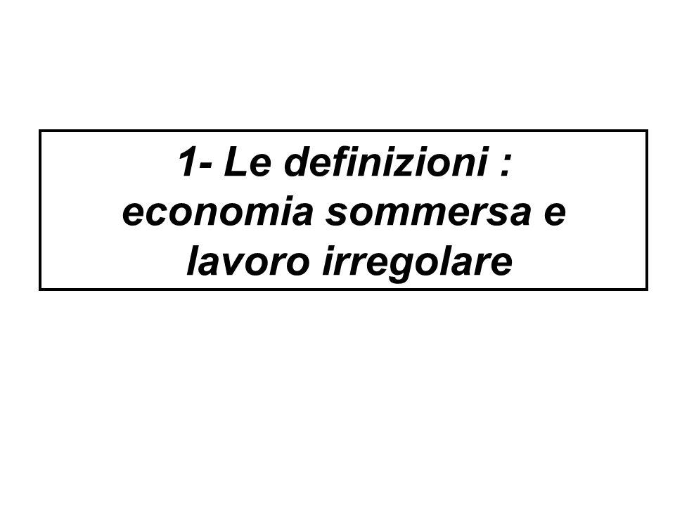 1- Le definizioni : economia sommersa e lavoro irregolare