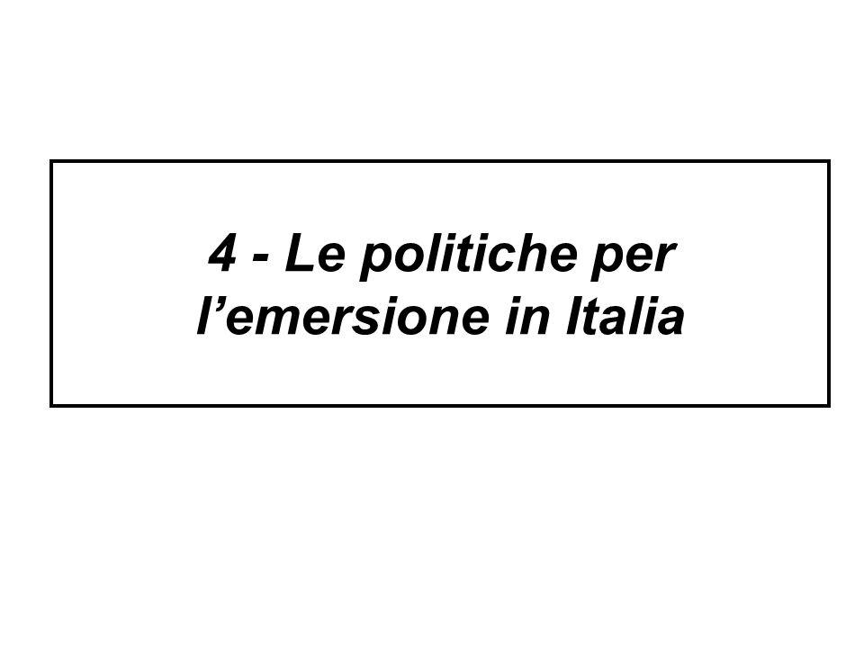 4 - Le politiche per lemersione in Italia