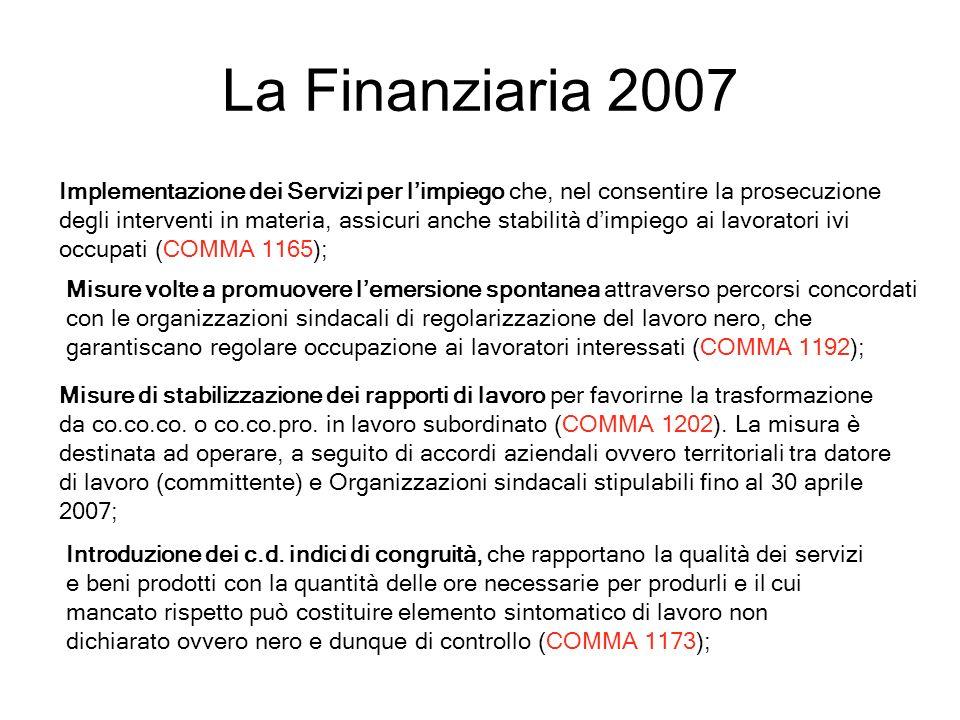 La Finanziaria 2007 Implementazione dei Servizi per limpiego che, nel consentire la prosecuzione degli interventi in materia, assicuri anche stabilità