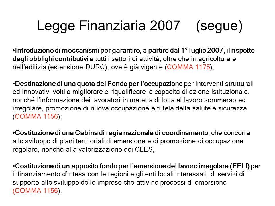 Legge Finanziaria 2007 (segue) Introduzione di meccanismi per garantire, a partire dal 1° luglio 2007, il rispetto degli obblighi contributivi a tutti