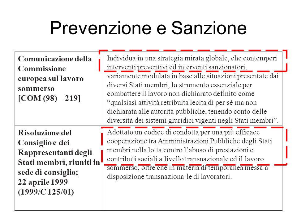 Prevenzione e Sanzione Comunicazione della Commissione europea sul lavoro sommerso [COM (98) – 219] Individua in una strategia mirata globale, che con