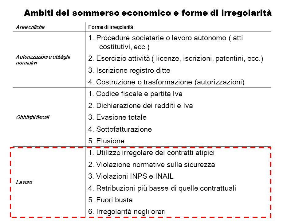Ambiti del sommerso economico e forme di irregolarità Aree criticheForme di irregolarità Autorizzazioni e obblighi normativi 1. Procedure societarie o