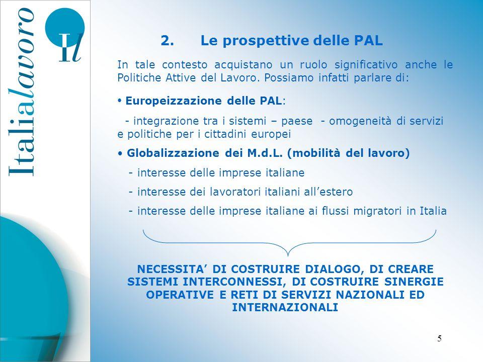 5 2.Le prospettive delle PAL In tale contesto acquistano un ruolo significativo anche le Politiche Attive del Lavoro.