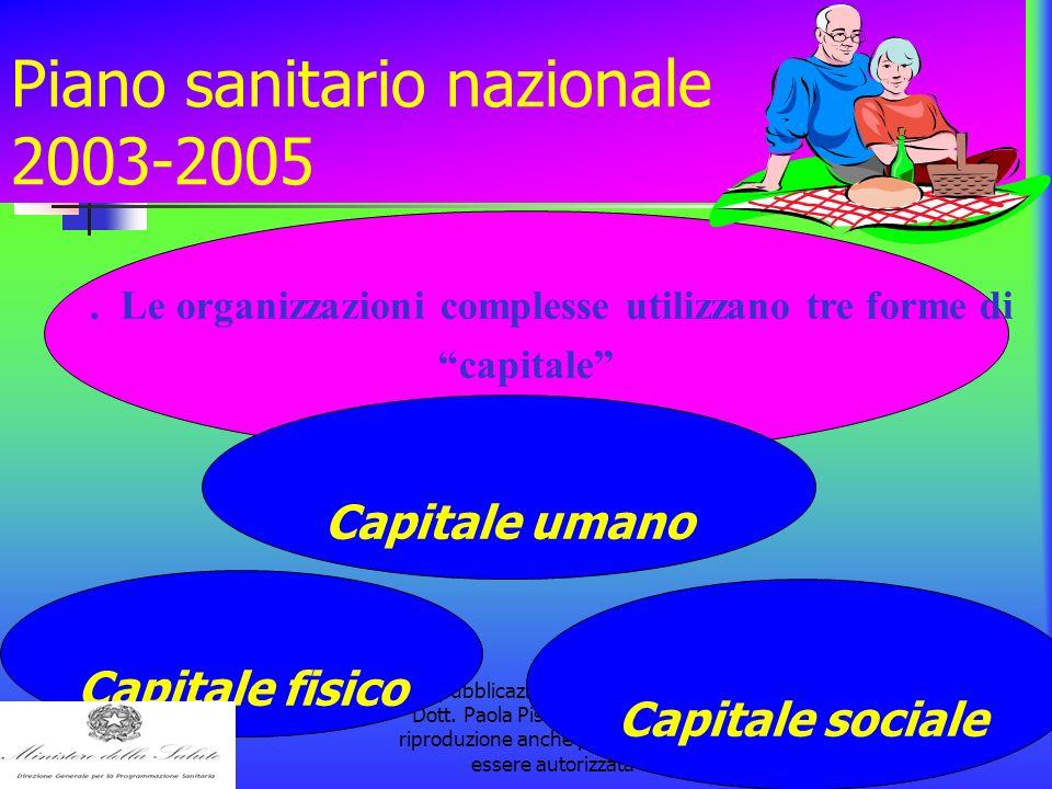 la pubblicazione è a cura della Dott. Paola Pisanti. L'eventuale riproduzione anche parziale dovrà essere autorizzata Piano sanitario nazionale 2003-2