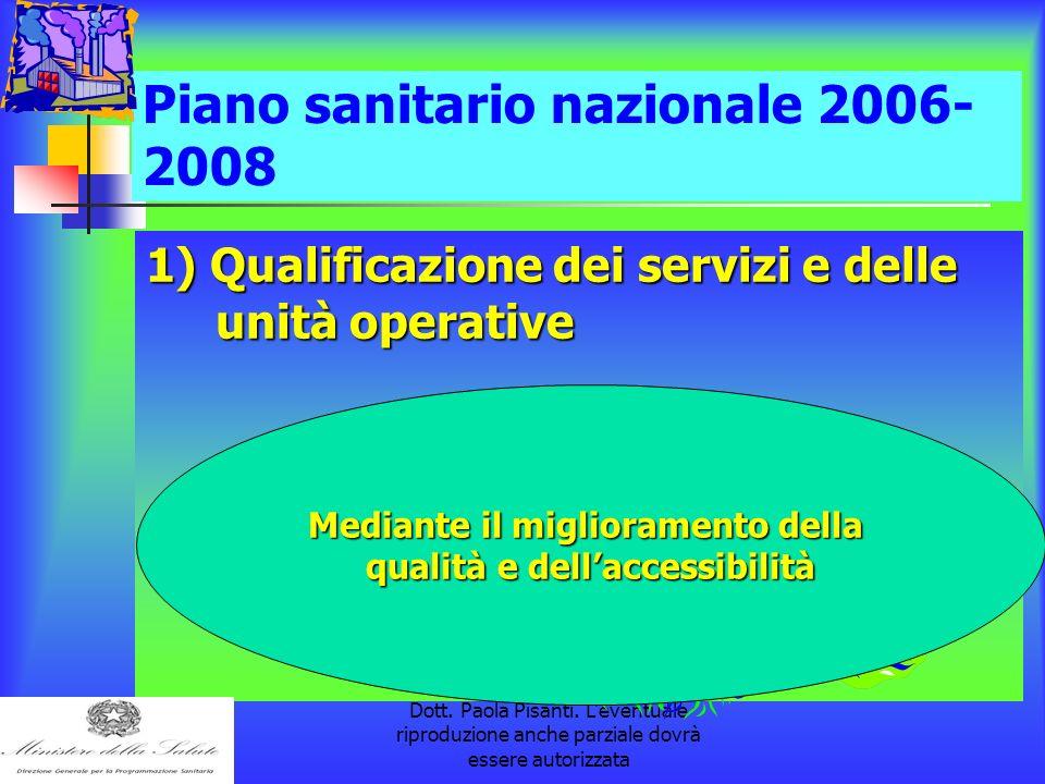 la pubblicazione è a cura della Dott. Paola Pisanti. L'eventuale riproduzione anche parziale dovrà essere autorizzata Piano sanitario nazionale 2006-