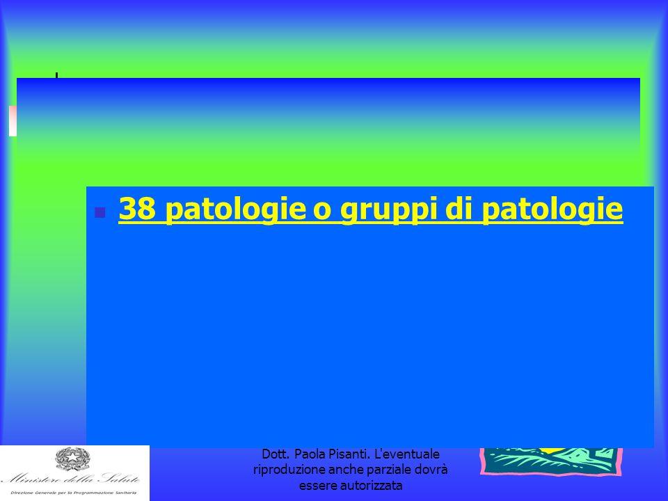 la pubblicazione è a cura della Dott. Paola Pisanti. L'eventuale riproduzione anche parziale dovrà essere autorizzata 38 patologie o gruppi di patolog
