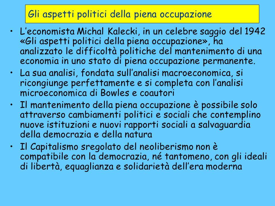 Gli aspetti politici della piena occupazione Leconomista Michal Kalecki, in un celebre saggio del 1942 «Gli aspetti politici della piena occupazione»,