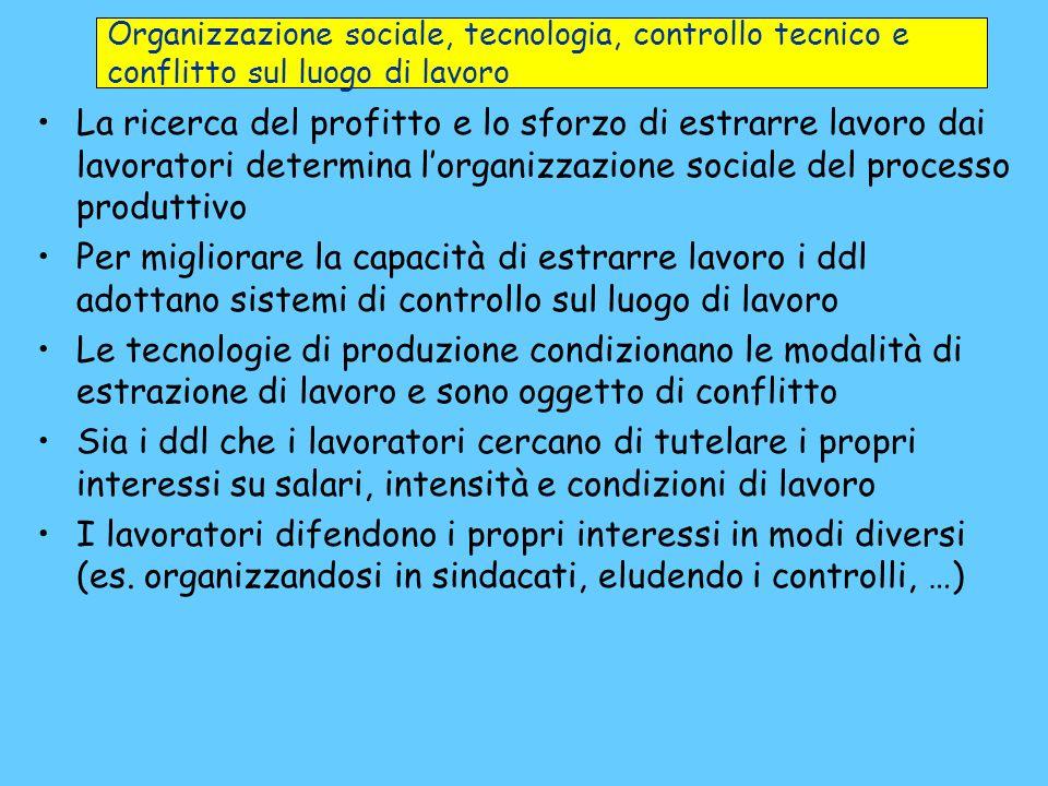 La ricerca del profitto e lo sforzo di estrarre lavoro dai lavoratori determina lorganizzazione sociale del processo produttivo Per migliorare la capa