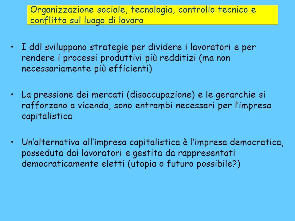 Organizzazione sociale, tecnologia, controllo tecnico e conflitto sul luogo di lavoro I ddl sviluppano strategie per dividere i lavoratori e per rende
