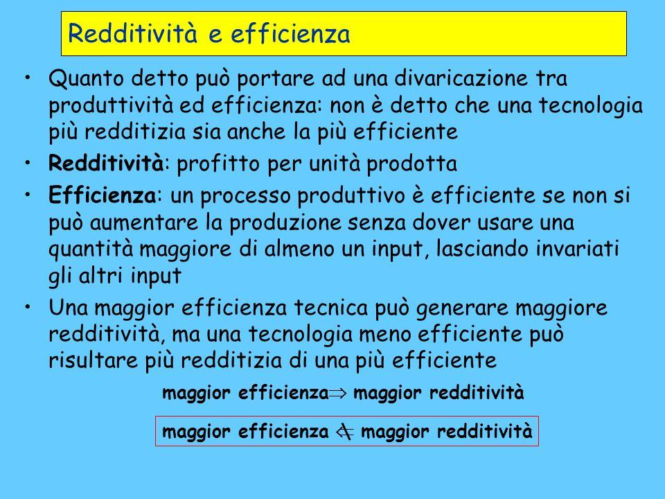 Redditività e efficienza Quanto detto può portare ad una divaricazione tra produttività ed efficienza: non è detto che una tecnologia più redditizia s