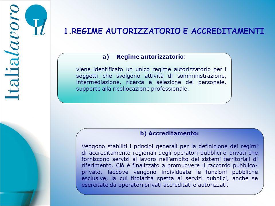 1.REGIME AUTORIZZATORIO E ACCREDITAMENTI a)Regime autorizzatorio: viene identificato un unico regime autorizzatorio per i soggetti che svolgono attivi