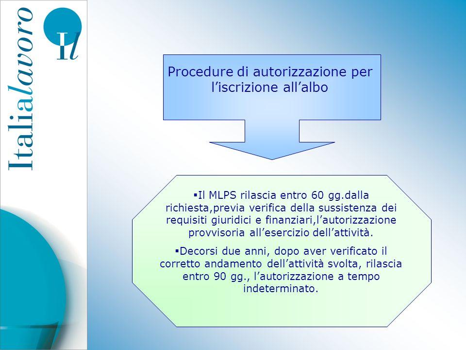 Procedure di autorizzazione per liscrizione allalbo Il MLPS rilascia entro 60 gg.dalla richiesta,previa verifica della sussistenza dei requisiti giuri