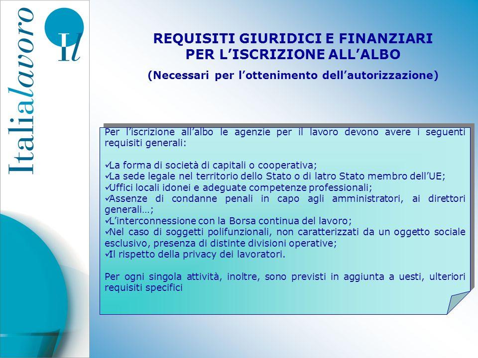 REQUISITI GIURIDICI E FINANZIARI PER LISCRIZIONE ALLALBO (Necessari per lottenimento dellautorizzazione) Per liscrizione allalbo le agenzie per il lav