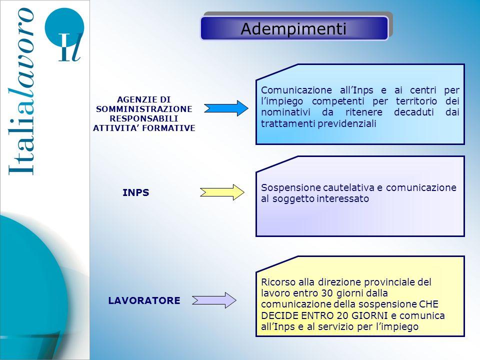 Comunicazione allInps e ai centri per limpiego competenti per territorio dei nominativi da ritenere decaduti dai trattamenti previdenziali Sospensione
