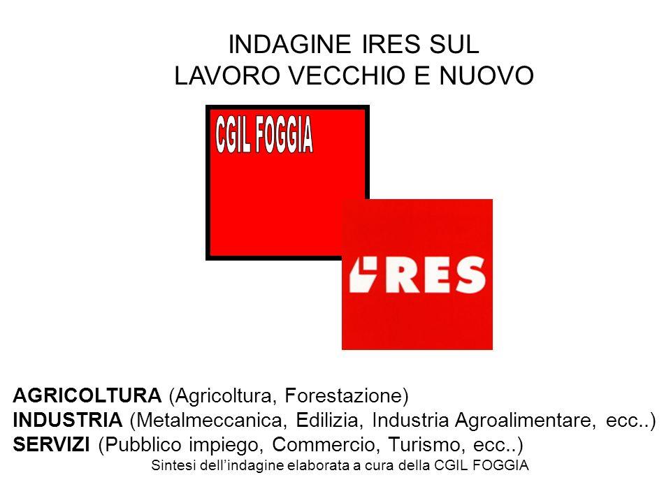 INDAGINE IRES SUL LAVORO VECCHIO E NUOVO AGRICOLTURA (Agricoltura, Forestazione) INDUSTRIA (Metalmeccanica, Edilizia, Industria Agroalimentare, ecc..) SERVIZI (Pubblico impiego, Commercio, Turismo, ecc..) Sintesi dellindagine elaborata a cura della CGIL FOGGIA