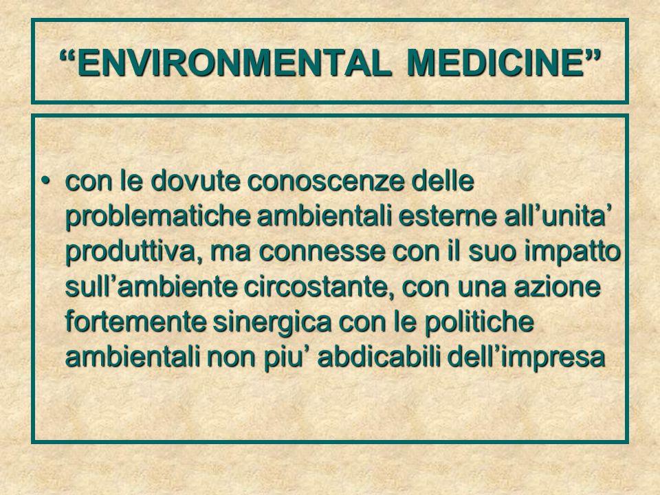 ENVIRONMENTAL MEDICINE con le dovute conoscenze delle problematiche ambientali esterne allunita produttiva, ma connesse con il suo impatto sullambient