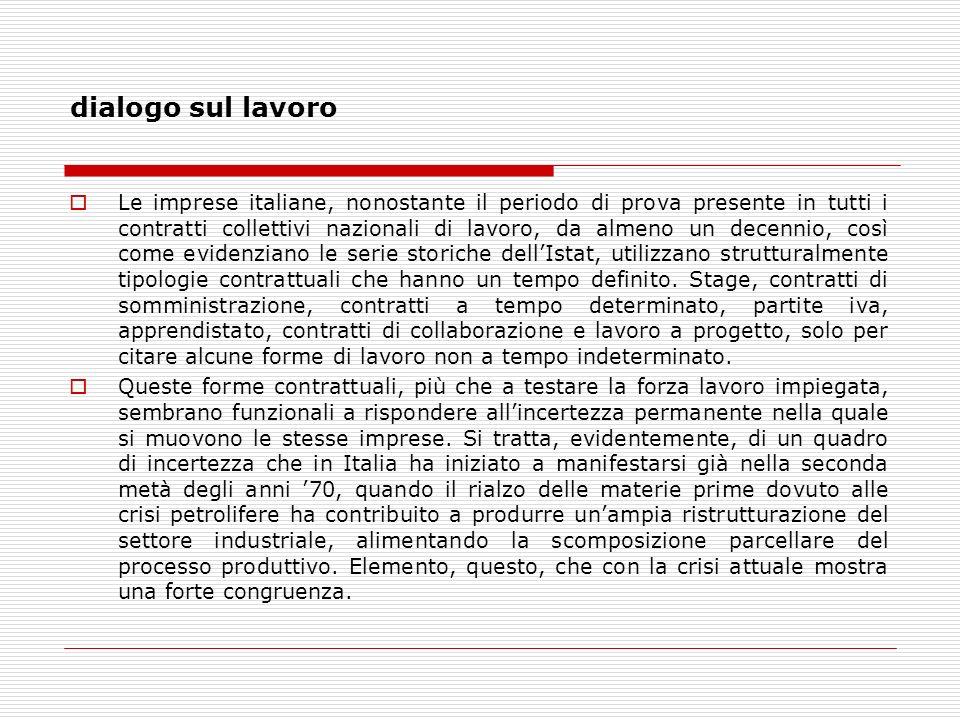 dialogo sul lavoro Le imprese italiane, nonostante il periodo di prova presente in tutti i contratti collettivi nazionali di lavoro, da almeno un decennio, così come evidenziano le serie storiche dellIstat, utilizzano strutturalmente tipologie contrattuali che hanno un tempo definito.