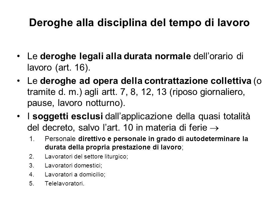 Deroghe alla disciplina del tempo di lavoro Le deroghe legali alla durata normale dellorario di lavoro (art.