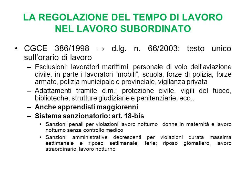 LA REGOLAZIONE DEL TEMPO DI LAVORO NEL LAVORO SUBORDINATO CGCE 386/1998 d.lg.
