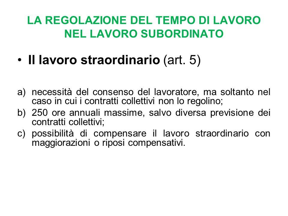 LA REGOLAZIONE DEL TEMPO DI LAVORO NEL LAVORO SUBORDINATO Il lavoro straordinario (art.