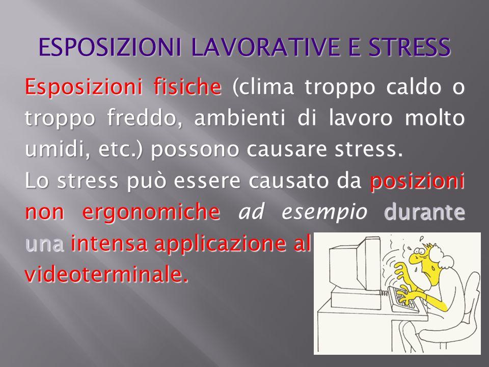 Esposizioni fisiche (clima troppo caldo o troppo freddo, ambienti di lavoro molto umidi, etc.) possono causare stress. Lo stress può essere causato da