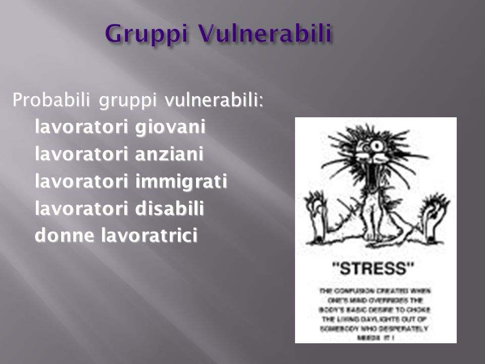 Gruppi Vulnerabili Probabili gruppi vulnerabili: lavoratori giovani lavoratori anziani lavoratori immigrati lavoratori disabili donne lavoratrici
