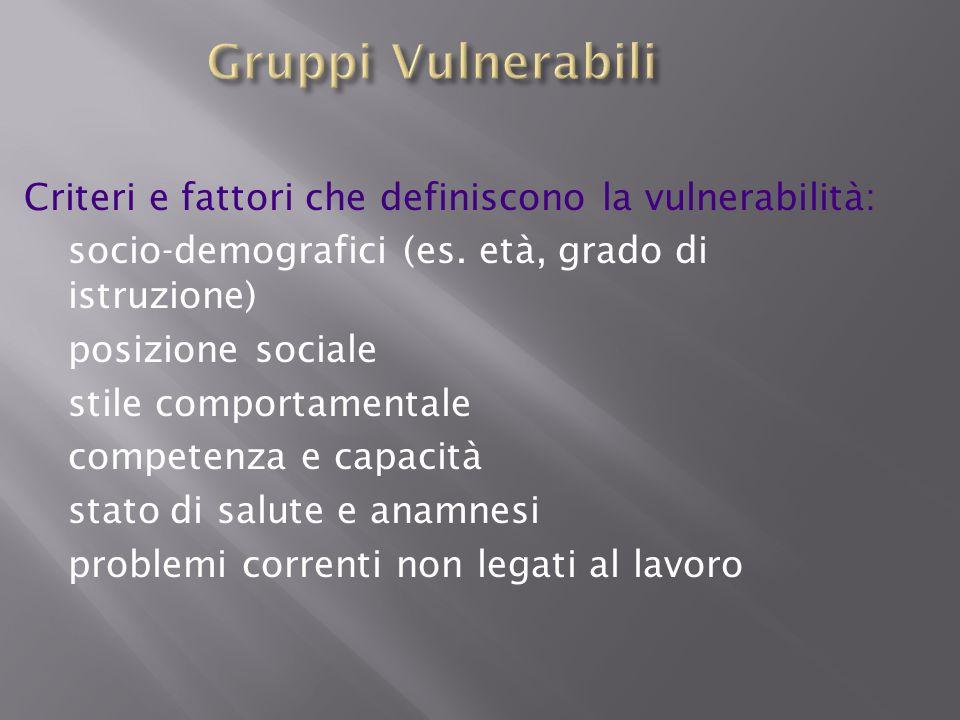 Criteri e fattori che definiscono la vulnerabilità: socio-demografici (es. età, grado di istruzione) posizione sociale stile comportamentale competenz