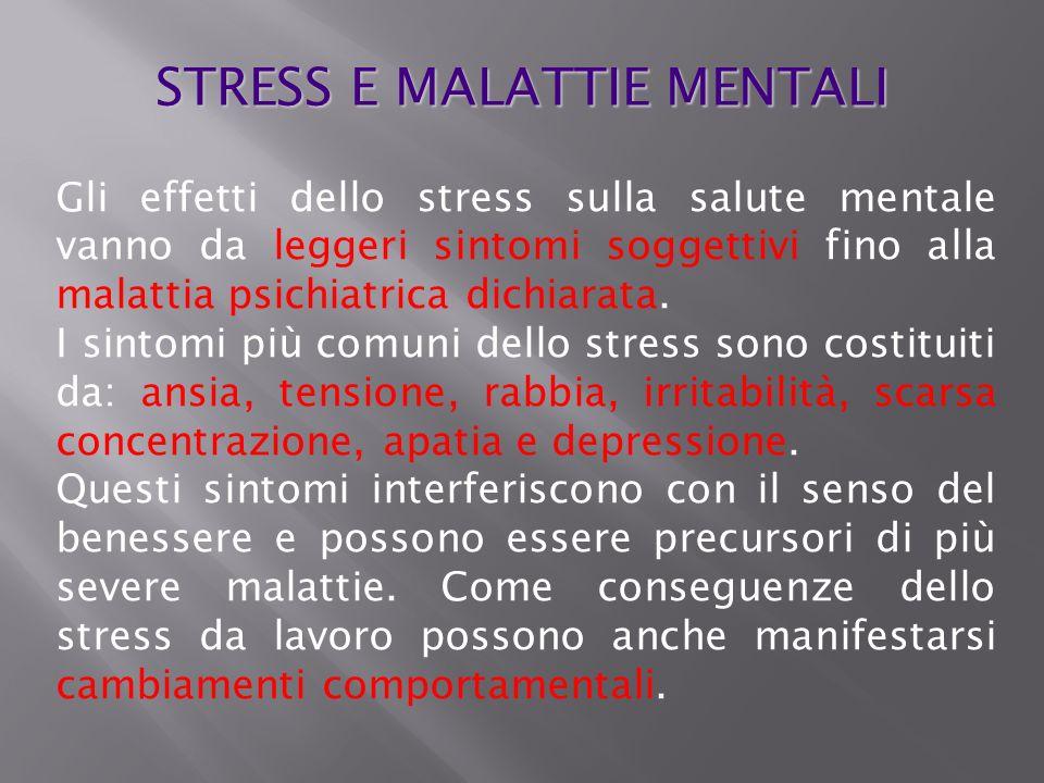 Gli effetti dello stress sulla salute mentale vanno da leggeri sintomi soggettivi fino alla malattia psichiatrica dichiarata. I sintomi più comuni del