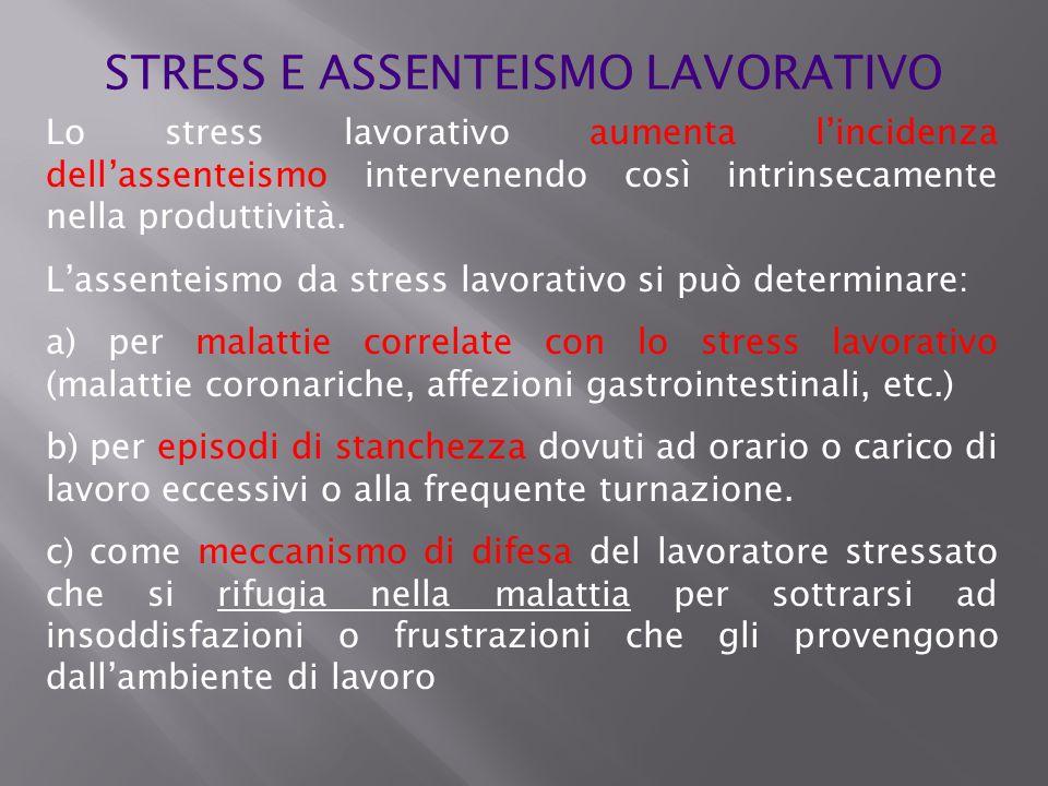 Lo stress lavorativo aumenta lincidenza dellassenteismo intervenendo così intrinsecamente nella produttività. Lassenteismo da stress lavorativo si può