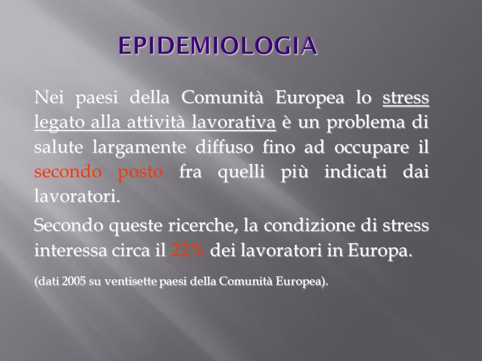 EPIDEMIOLOGIA Nei paesi della Comunità Europea lo stress legato alla attività lavorativa è un problema di salute largamente diffuso fino ad occupare i