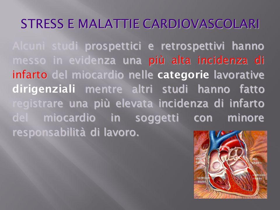 Alcuni studi prospettici e retrospettivi hanno messo in evidenza una più alta incidenza di infarto del miocardio nelle lavorative mentre altri studi h