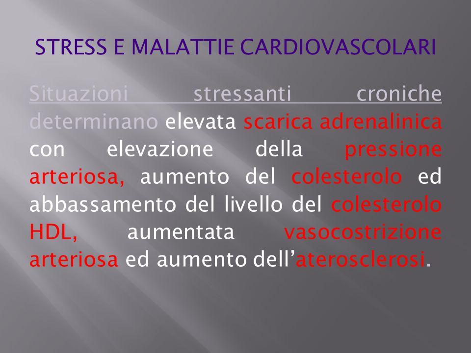 Situazioni stressanti croniche determinano elevata scarica adrenalinica con elevazione della pressione arteriosa, aumento del colesterolo ed abbassame