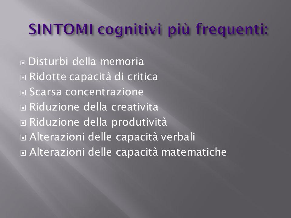 SINTOMI cognitivi più frequenti: Disturbi della memoria Ridotte capacità di critica Scarsa concentrazione Riduzione della creativita Riduzione della p