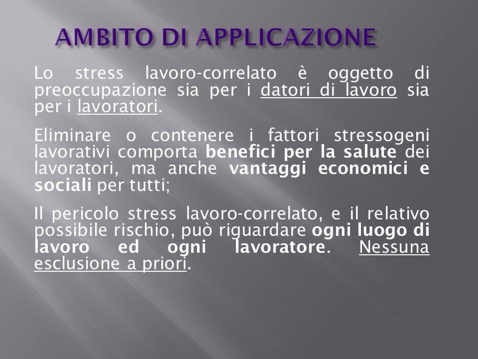AMBITO DI APPLICAZIONE Lo stress lavoro-correlato è oggetto di preoccupazione sia per i datori di lavoro sia per i lavoratori. Eliminare o contenere i