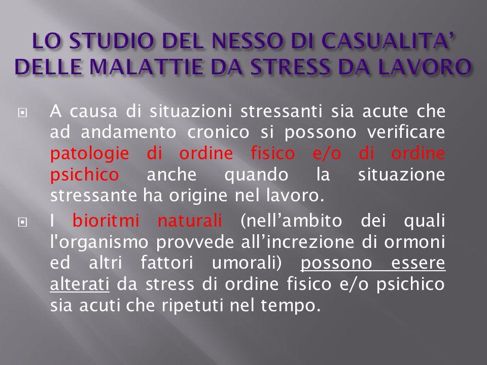LO STUDIO DEL NESSO DI CASUALITA DELLE MALATTIE DA STRESS DA LAVORO A causa di situazioni stressanti sia acute che ad andamento cronico si possono ver