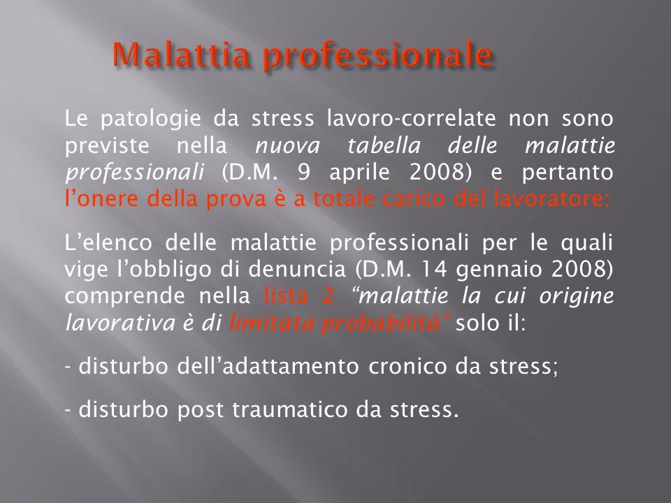 Malattia professionale Le patologie da stress lavoro-correlate non sono previste nella nuova tabella delle malattie professionali (D.M. 9 aprile 2008)
