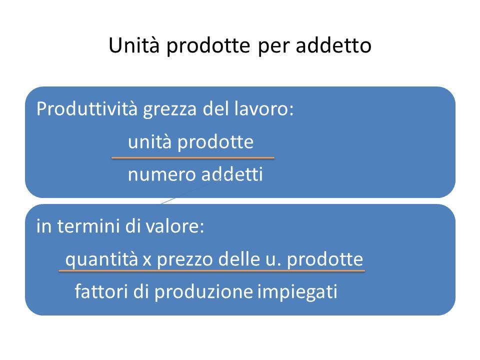 Unità prodotte per addetto Produttività grezza del lavoro: unità prodotte numero addetti in termini di valore: quantità x prezzo delle u. prodotte fat