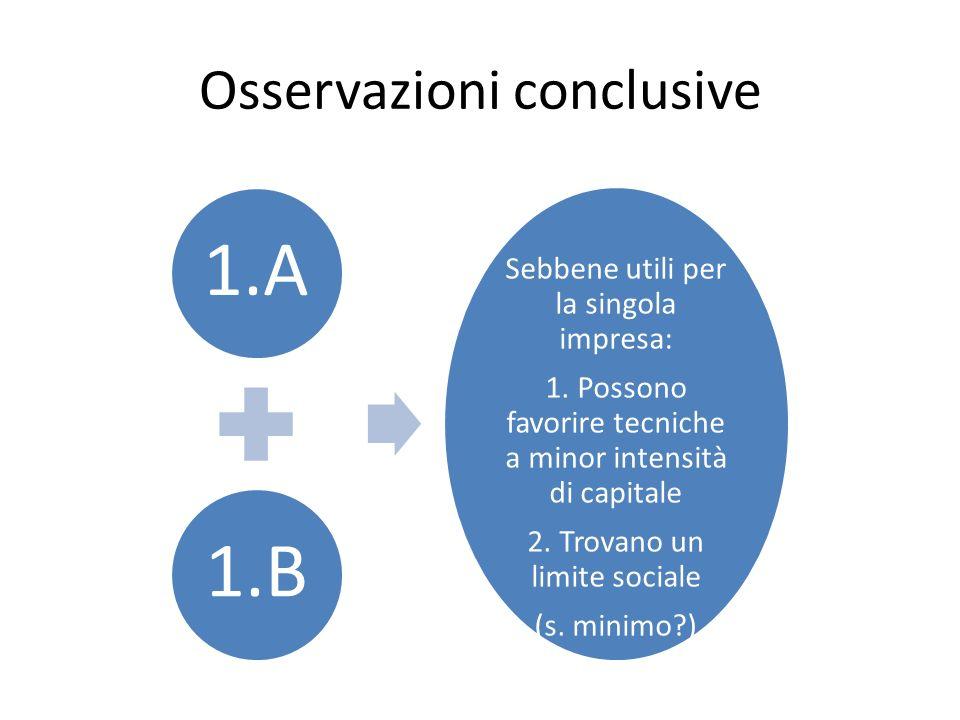 Osservazioni conclusive 1.A1.B Sebbene utili per la singola impresa: 1. Possono favorire tecniche a minor intensità di capitale 2. Trovano un limite s