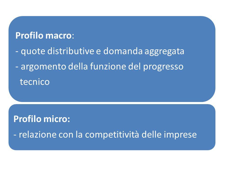 Profilo macro: - quote distributive e domanda aggregata - argomento della funzione del progresso tecnico Profilo micro: - relazione con la competitivi