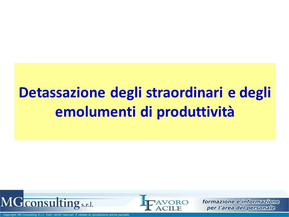 Detassazione degli straordinari e degli emolumenti di produttività