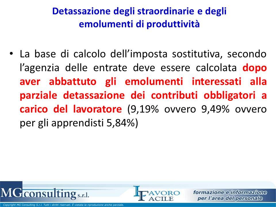 Detassazione degli straordinarie e degli emolumenti di produttività La base di calcolo dellimposta sostitutiva, secondo lagenzia delle entrate deve es