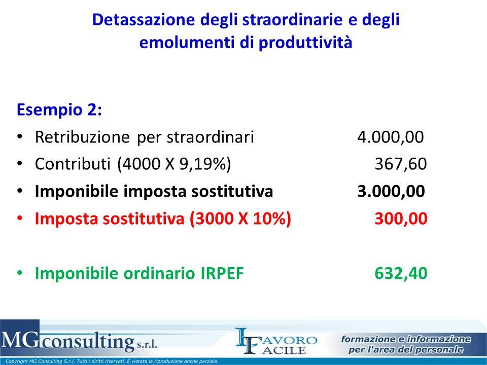 Detassazione degli straordinarie e degli emolumenti di produttività Esempio 2: Retribuzione per straordinari 4.000,00 Contributi (4000 X 9,19%) 367,60 Imponibile imposta sostitutiva 3.000,00 Imposta sostitutiva (3000 X 10%) 300,00 Imponibile ordinario IRPEF 632,40