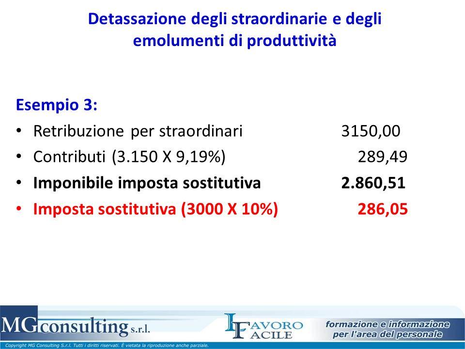 Detassazione degli straordinarie e degli emolumenti di produttività Esempio 3: Retribuzione per straordinari 3150,00 Contributi (3.150 X 9,19%) 289,49 Imponibile imposta sostitutiva 2.860,51 Imposta sostitutiva (3000 X 10%) 286,05