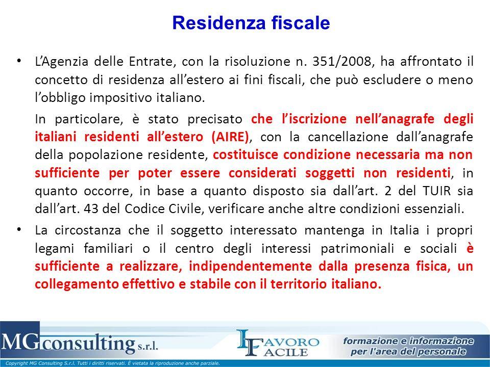 Residenza fiscale LAgenzia delle Entrate, con la risoluzione n.