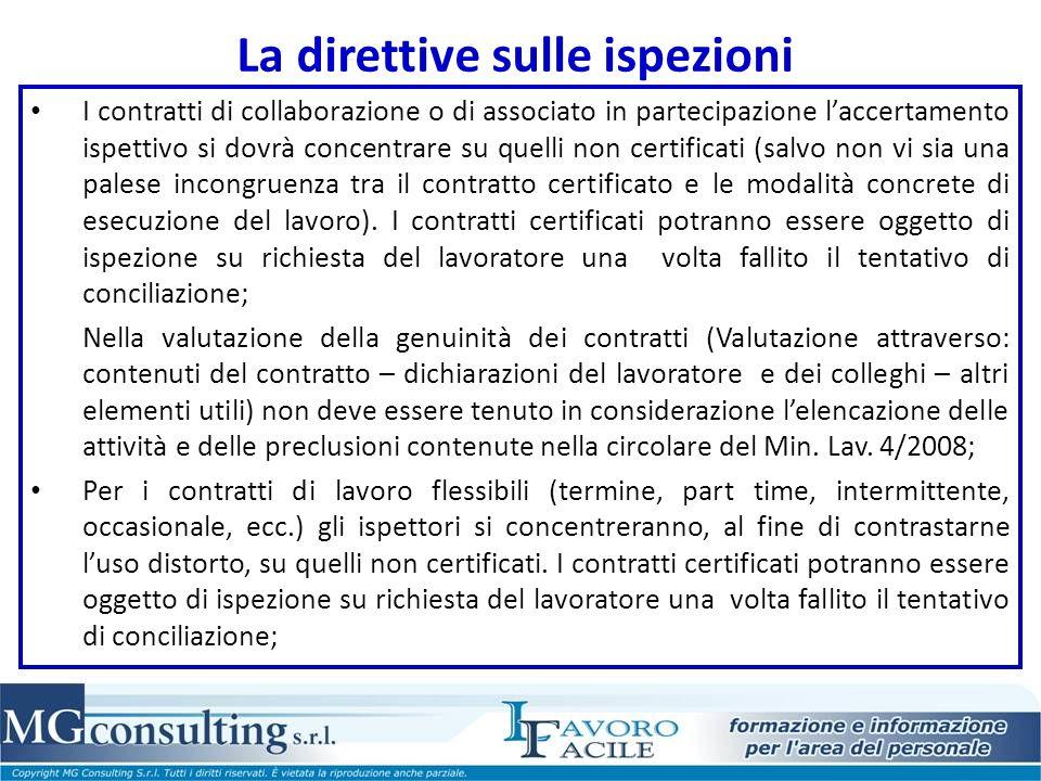 La direttive sulle ispezioni I contratti di collaborazione o di associato in partecipazione laccertamento ispettivo si dovrà concentrare su quelli non