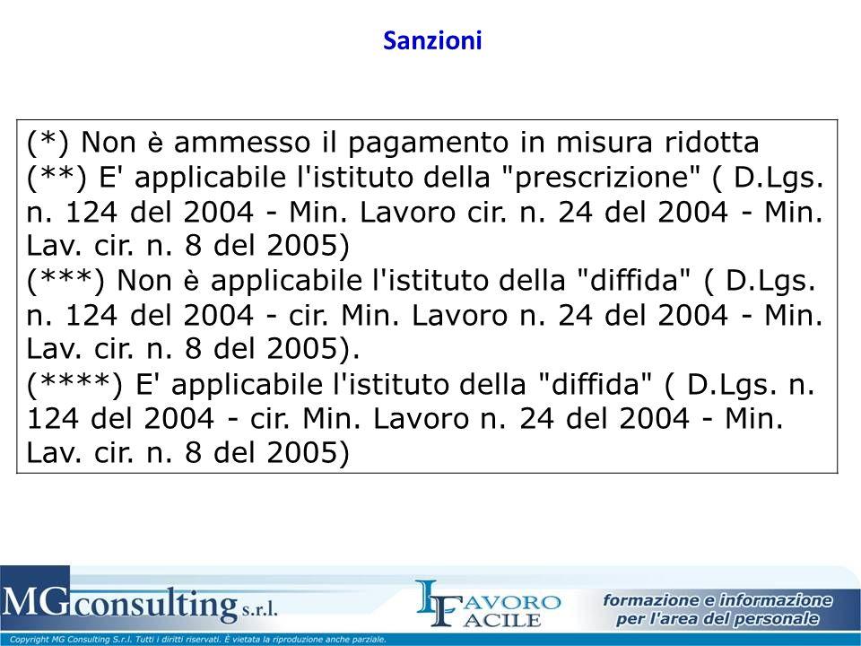 Sanzioni (*) Non è ammesso il pagamento in misura ridotta (**) E applicabile l istituto della prescrizione ( D.Lgs.